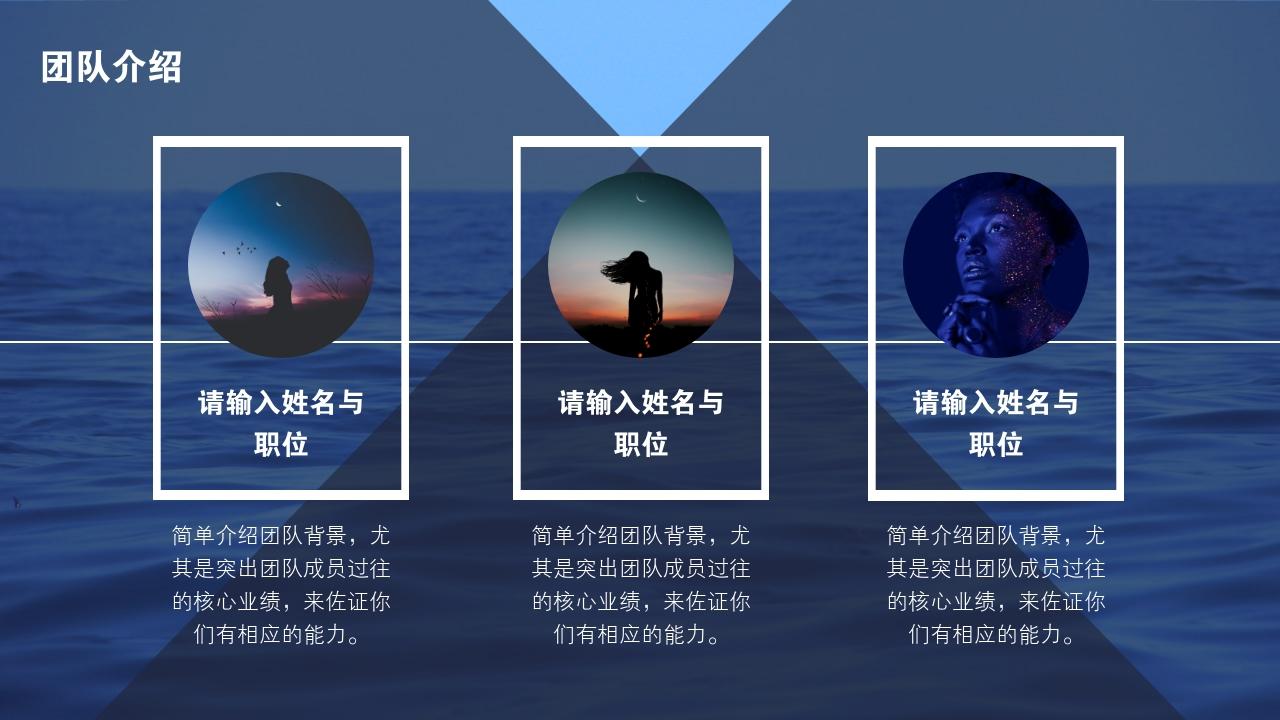 旅游風景歐美海報風完整商業計劃書PPT模版-團隊介紹
