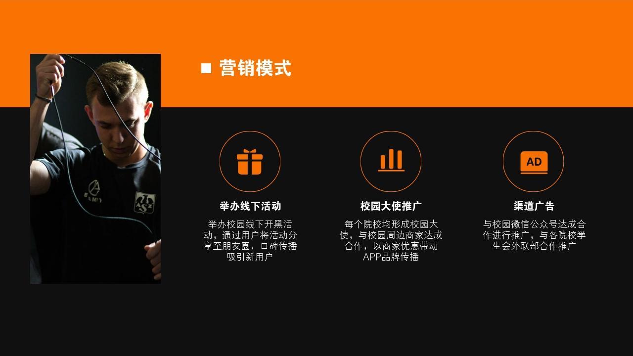 電競手游娛樂項目游戲社區行業商業計劃書PPT模板-營銷模式