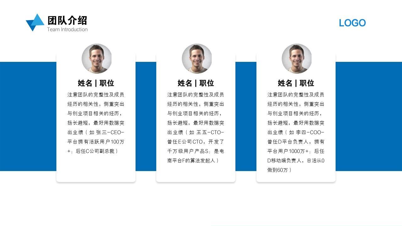 科技環保智能回收垃圾分類項目創業商業計劃書PPT模板-團隊介紹