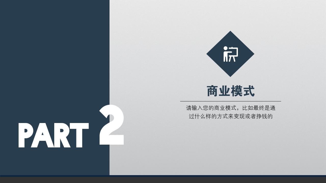 企業服務商家服務簡約通用完整商業計劃書PPT模版-商業模式